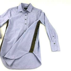 J. Crew Sequin Side Stripe Button Down Collared